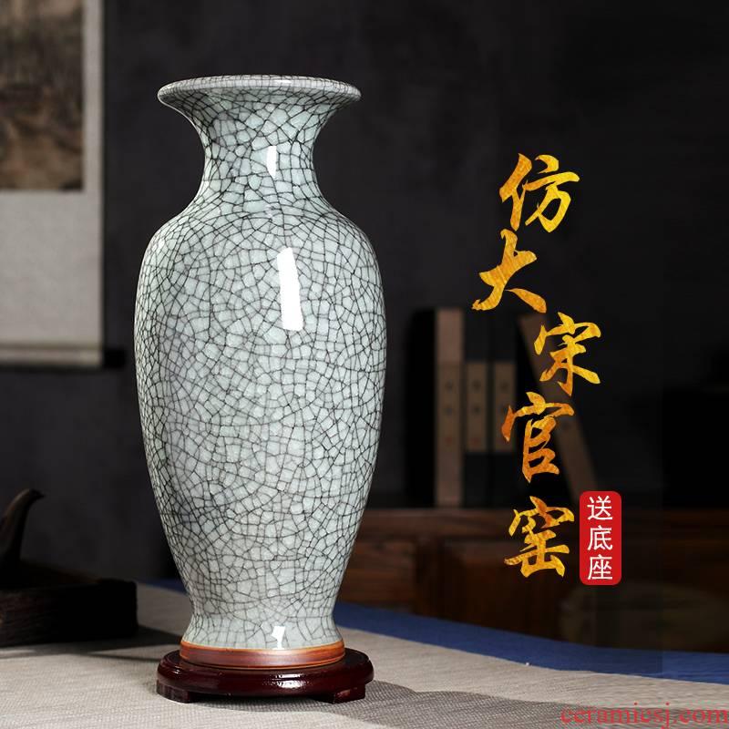 Jun porcelain of jingdezhen ceramics vase furnishing articles crackle sitting room dry flower decoration creative flower arranging flowers