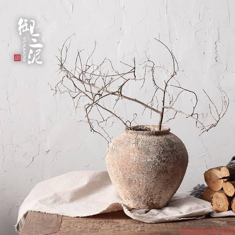 Manual coarse TaoHua is more than flesh POTS of jingdezhen ceramic dry flower vase hand made Japanese teahouse zen flowerpot