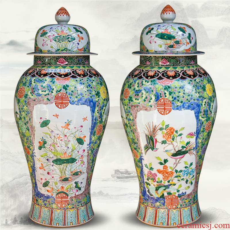 Jingdezhen ceramics archaize floor big vase hand - made the general pot of large Chinese style living room decoration as furnishing articles