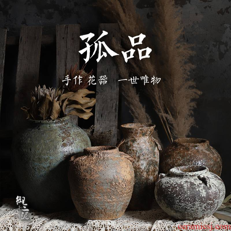 Do old coarse TaoHua device more flesh POTS of jingdezhen ceramic vases, hand type teahouse zen master flowerpot orphan works