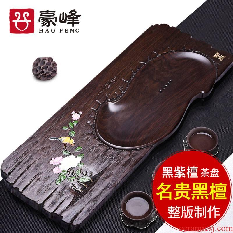 HaoFeng purple sand tea set the whole piece of ebony wood tea tray was kung fu suit household tea tea sets tea saucer
