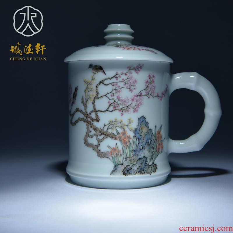 Cheng DE hin jingdezhen ceramic tea set, high - grade pure hand draw pastel the escape of 12 oz cups