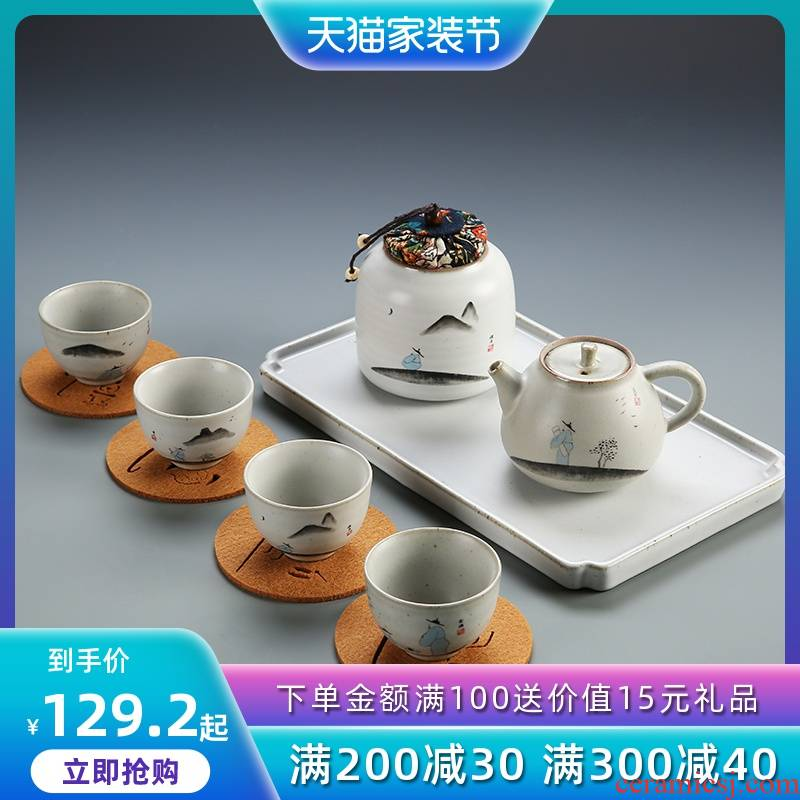 Japanese antique your up kung fu tea set household contracted zen ceramic cup thick ceramic lid bowl of restoring ancient ways