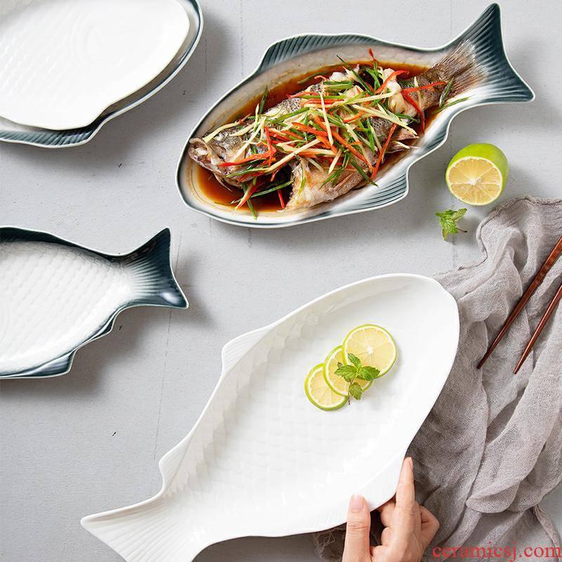 Eat fish dish dish dish dish ceramic household new large ltd. creative move restaurant web celebrity steamed fish dish