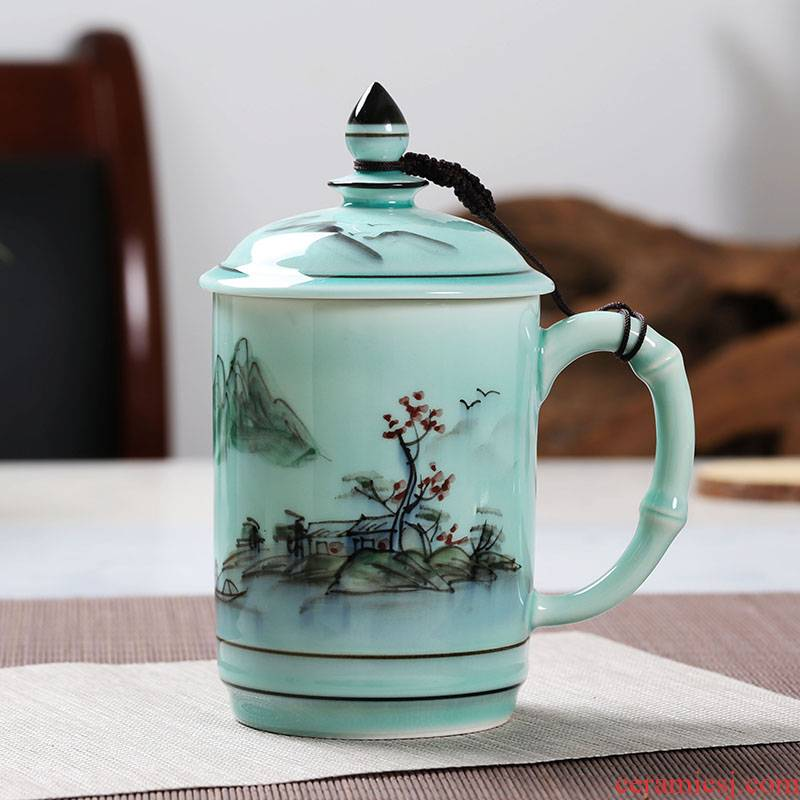 Celadon personal glass cup with cover office of jingdezhen ceramic hand - made cup gift cup large household tea cup