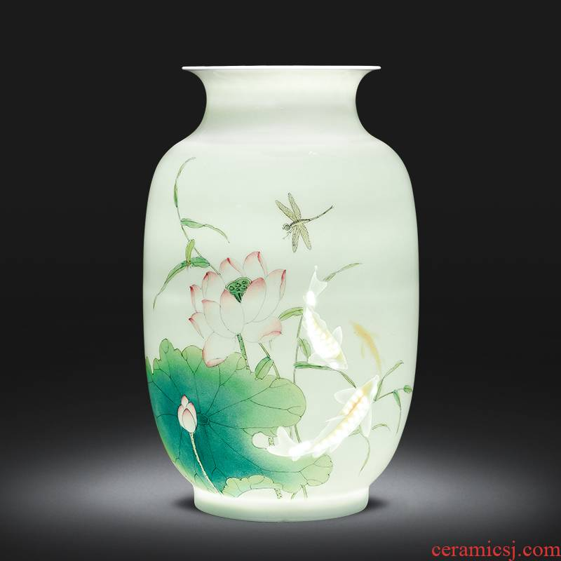 The Master of jingdezhen ceramics from thin foetus vase hand - made years wining the new Chinese style home sitting room adornment is placed