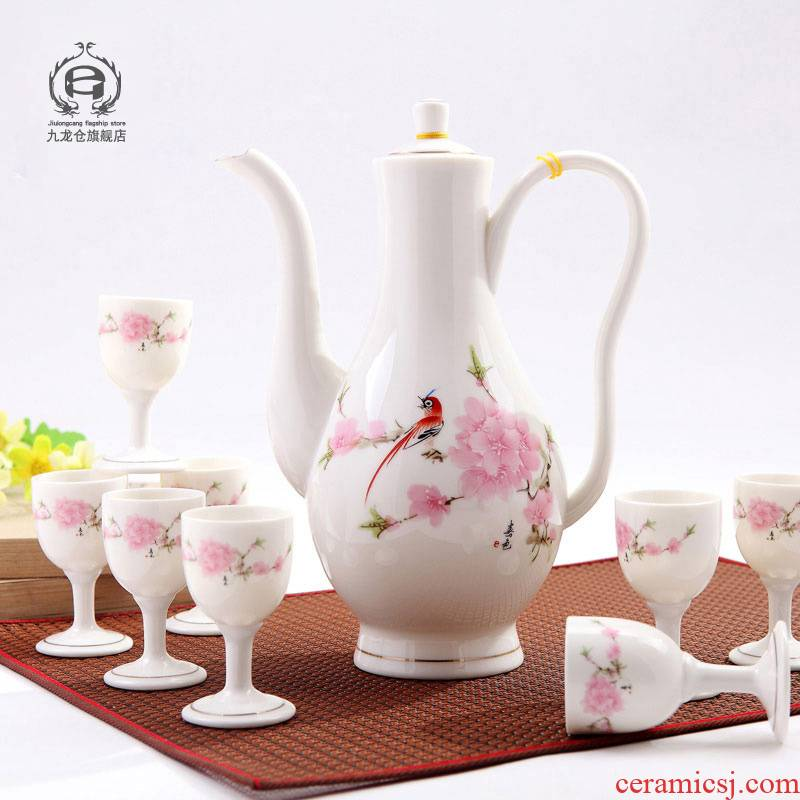 DH jingdezhen porcelain Chinese style household jingdezhen ceramic wine suits for liquor liquor cup wine decanters