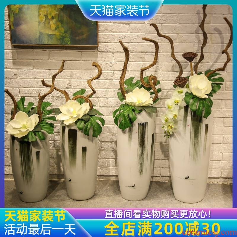 Jingdezhen ceramic big vase simulation dried flowers sitting room adornment is placed artificial flowers home decoration floor flower arranging flowers