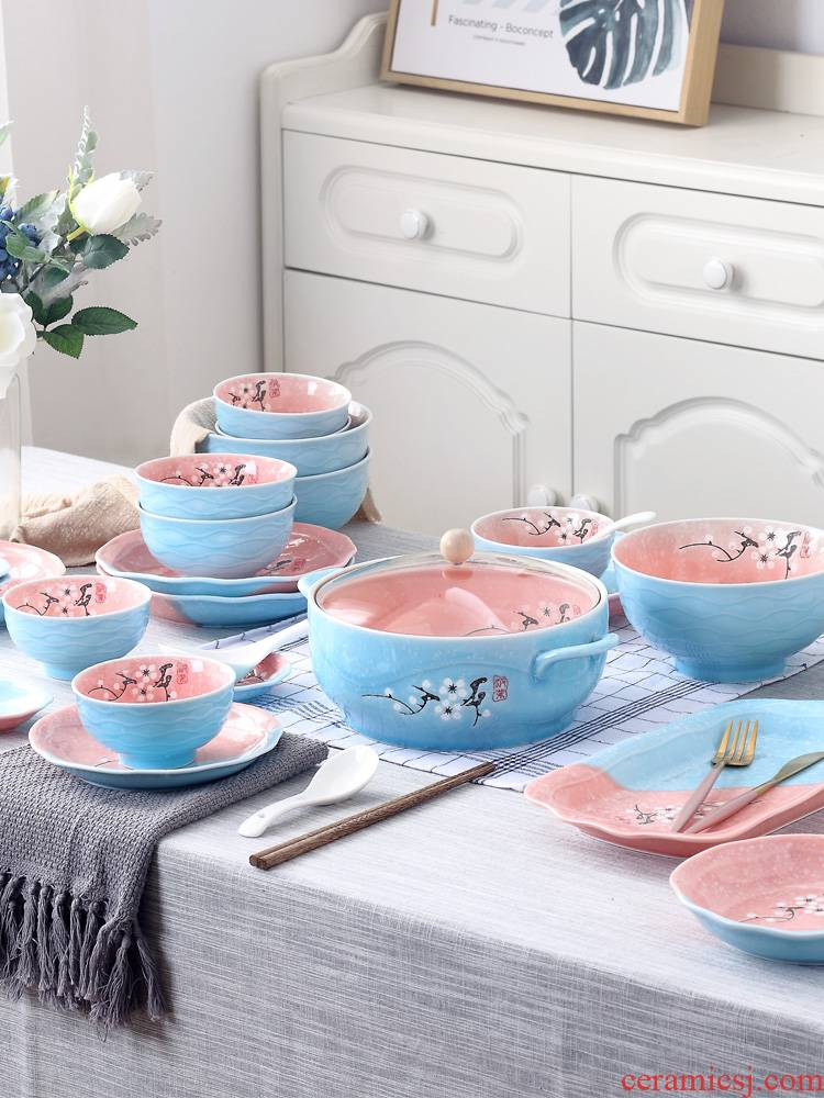 Home to eat bread and butter plate of jingdezhen ceramic large 0 Japanese creative contracted combination tableware the noodles soup bowl