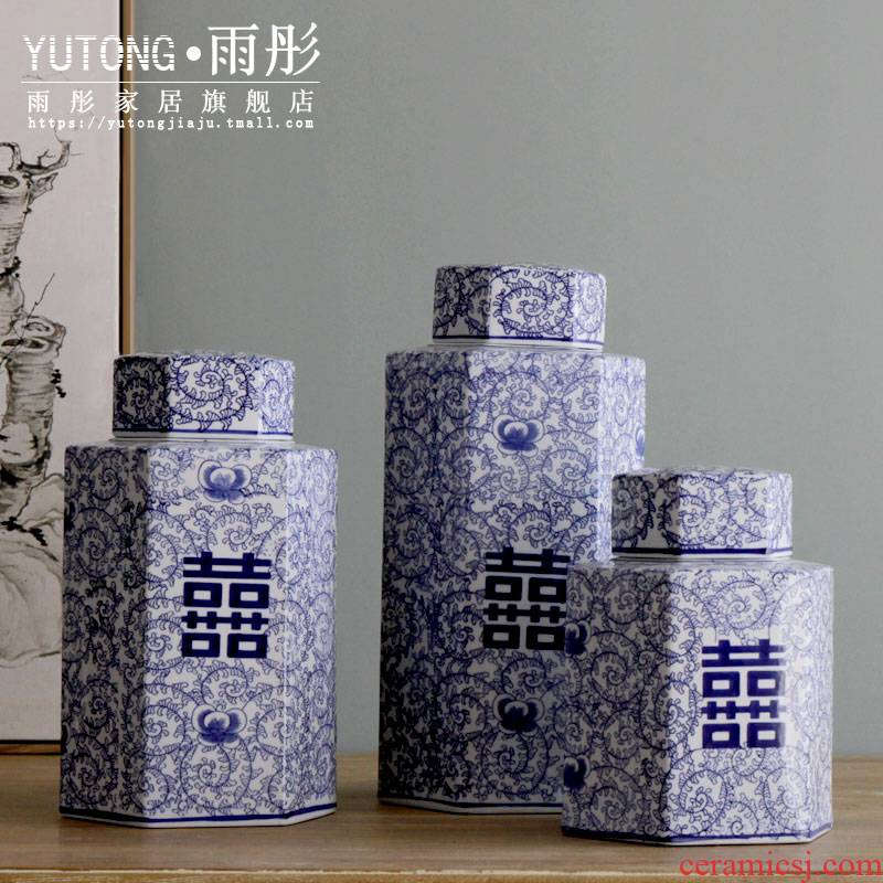 Rain tong home | jingdezhen blue and white porcelain ceramics classic wind and ceramic pot with cover can of furnishing articles