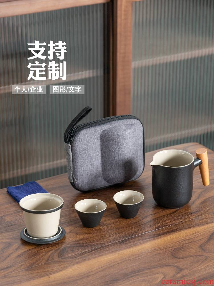 Ceramic pot 2 cups of portable tea sets tea bags is suing the car crack cup travel custom logo