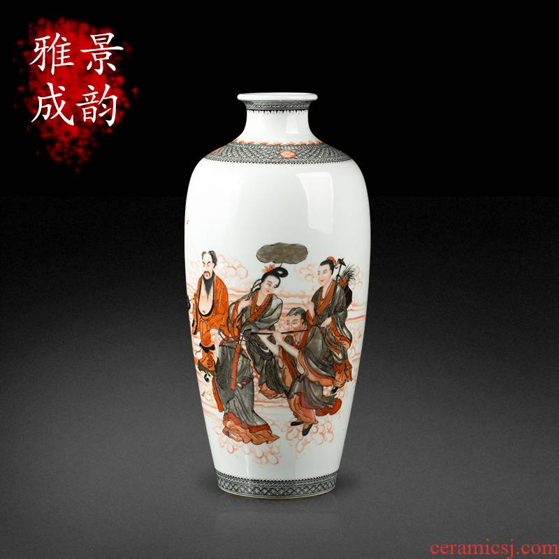 Jingdezhen ceramic hand - made the ensemble of new Chinese style living room TV cabinet porcelain vase furnishing articles at home