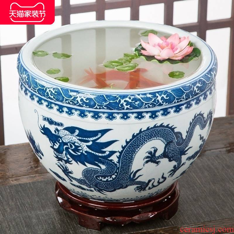 Jingdezhen ceramic aquarium goldfish large blue and white turtle slept GangPen bowl lotus refers to basin of lotus cylinder betelnut POTS