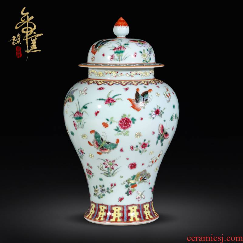 Jingdezhen ceramic antique hand - made general as cans best butterfly tattoo Chinese style living room decoration as storage tank vase furnishing articles