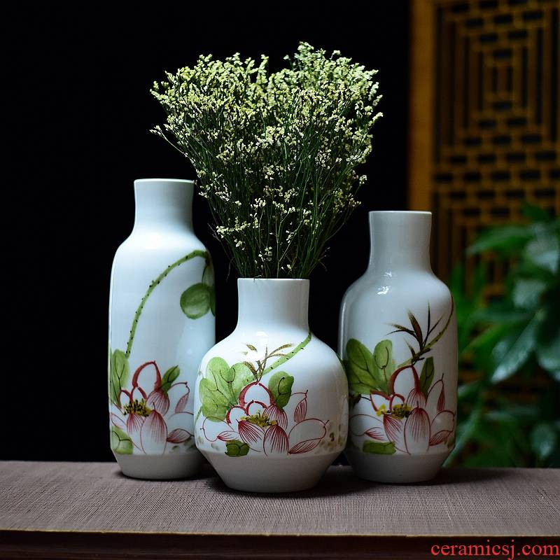 Jingdezhen hand - made ceramic fashion home furnishing articles hydroponic dry flower arranging flowers sitting room lucky bamboo vase three - piece suit