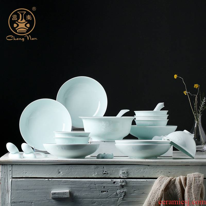 Chang south of jingdezhen ceramic bowl set home dishes Chinese dishes contracted plate shadow carving dishes