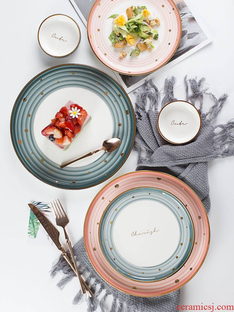 The Nordic ins ceramic creative household food dish web celebrity jinbo point plate plate beefsteak breakfast tray