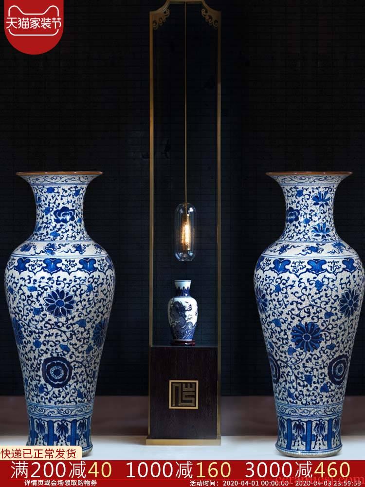 Jingdezhen ceramics hand - made large blue and white porcelain vase on crack hotel furnishing articles to heavy large living room
