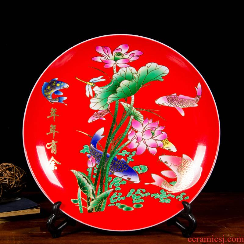 Z039 Chinese jingdezhen ceramics powder enamel hang dish decorative plate of home sitting room adornment is placed more every year
