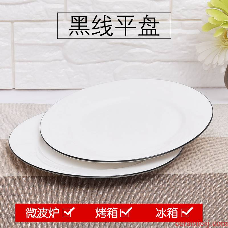 Ceramic plate disc white beefsteak 10/12 inch plate round dish tray plates home dishes for breakfast