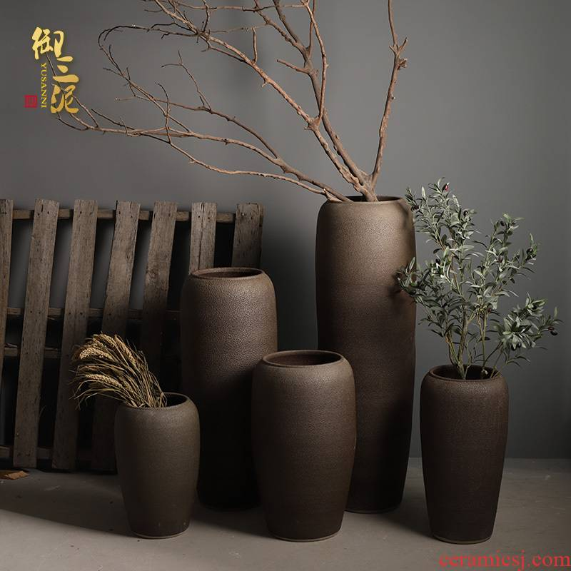 Retro jingdezhen ceramic vase of large modern flower arrangement sitting room place coarse pottery large suit the dried flower