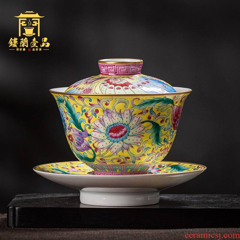 Jingdezhen ceramics all hand pastel yellow recent three to make tea tureen large bowl set of tea cups