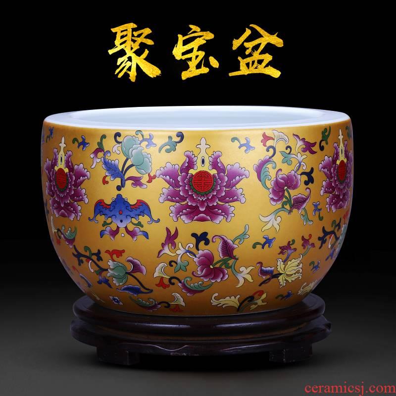 Jingdezhen ceramics cornucopia cylinder porch place a thriving business feng shui basin home sitting room adornment aquarium