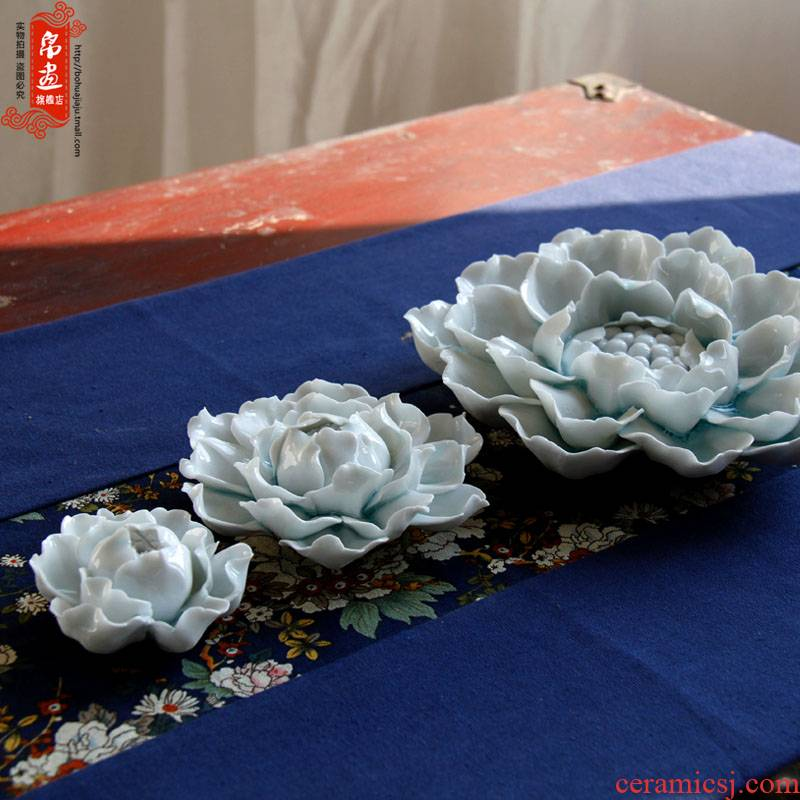 Jingdezhen shadow celadon all checking ceramic peony yarn sweet sweet scented decoration porcelain