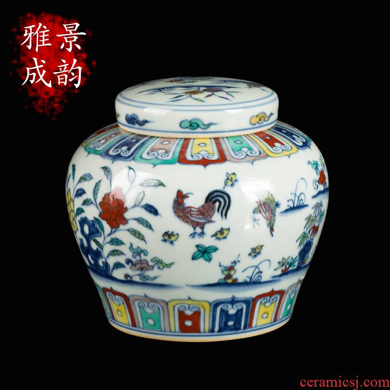 Jingdezhen ceramic word maintain family day tank storage tank decorative furnishing articles for household decoration teahouse tea