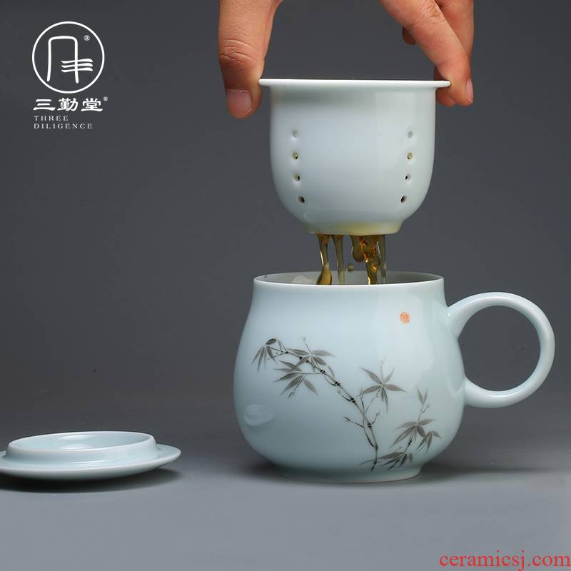 Three frequently hall jingdezhen ceramic cups with cover filter personal keller cups office separation tea cups