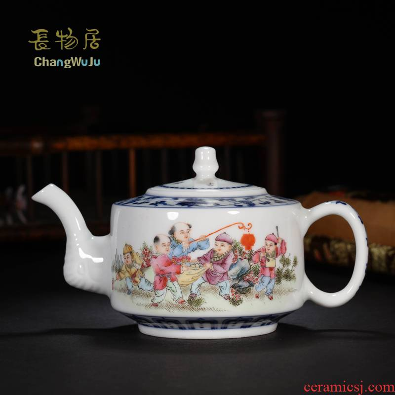 Offered home - cooked in jingdezhen ceramic famille rose porcelain teapot pure manual hand blue and white porcelain tea set kung fu tea tea