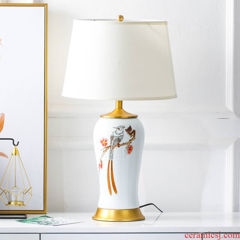 New Chinese style painting of flowers and large sitting room tea table lamp postmodern contracted ceramic soft outfit desk lamp of bedroom the head of a bed the study
