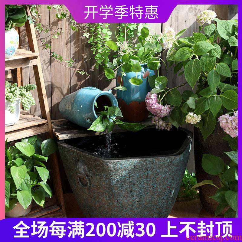 Jingdezhen ceramic aquarium fish bowl sitting room extra large water lily lotus old flowers cylinder tank yard