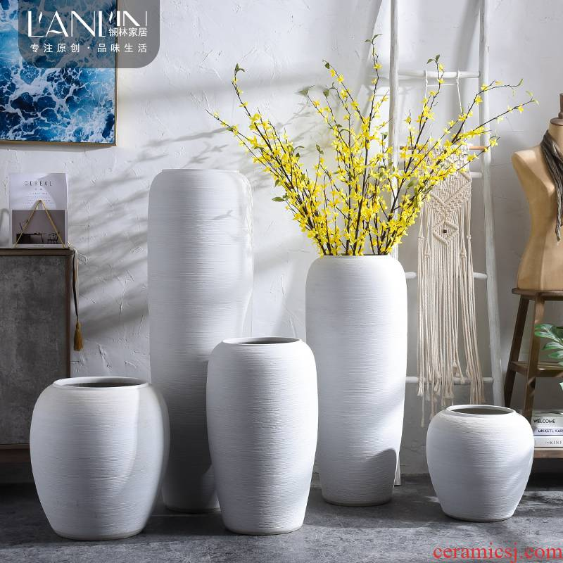 Modern Nordic large white vase ceramic flower arranging dried flowers simulation sitting room home furnishing articles ground adornment