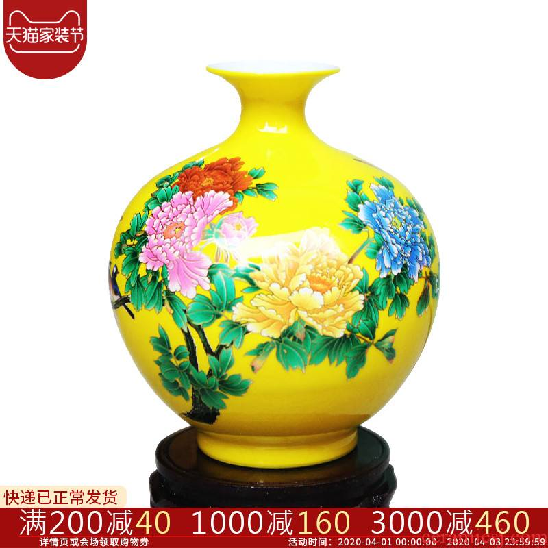 Jingdezhen ceramics vase pomegranate flower arranging machine of Chinese style household to decorate the living room TV ark, handicraft furnishing articles