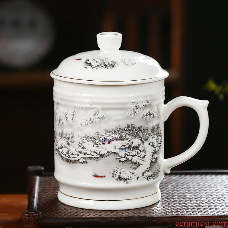 Jingdezhen ceramic big cups porcelain cup with cover personal mark cup home boss cup 1000 ml gift porcelain cup