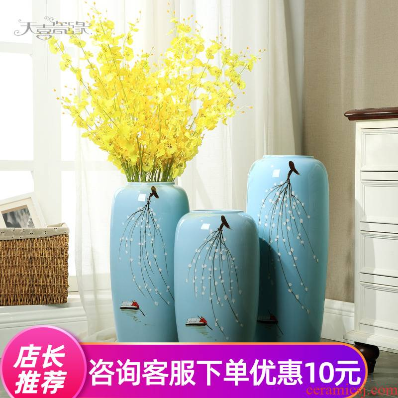 Sitting room ground ceramic large vases, I and contracted dry flower, flower implement high TV ark adornment European furnishing articles