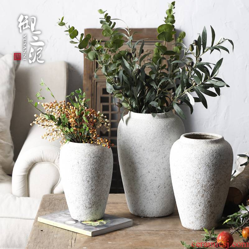 Retro POTS dry flower ceramic vase Nordic I and contracted hydroponic flower flower POTS coarse pottery eucalyptus leaf furnishing articles