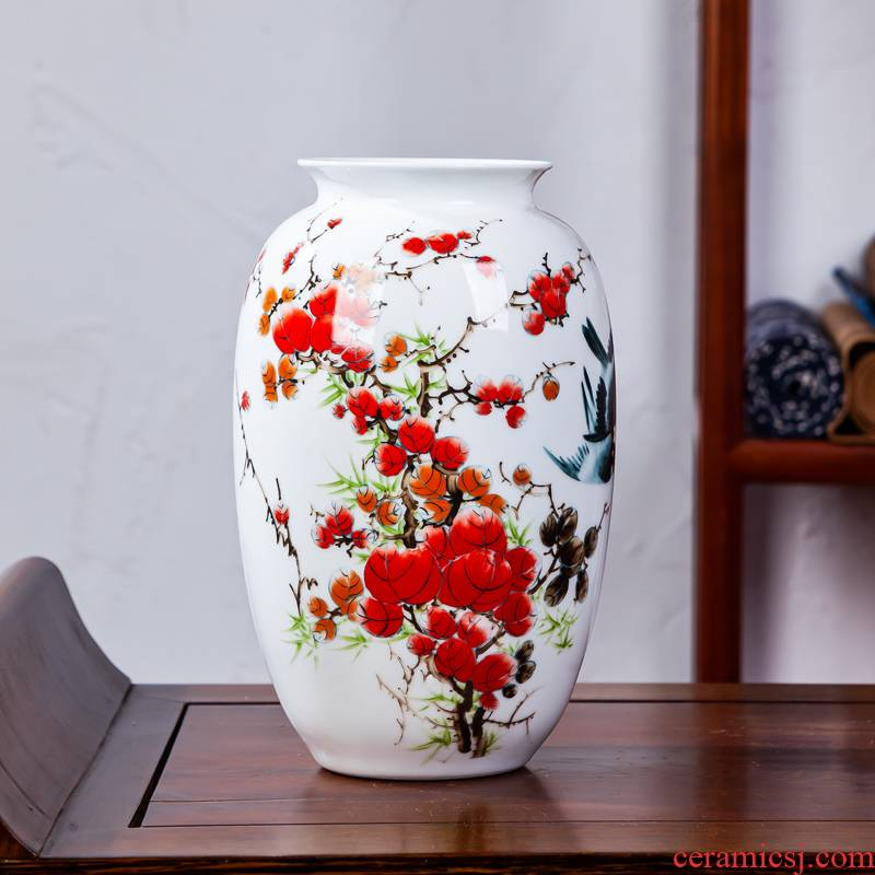 Jingdezhen ceramic vases, small home sitting room flower arranging I and contracted style famille rose decoration rich ancient frame furnishing articles