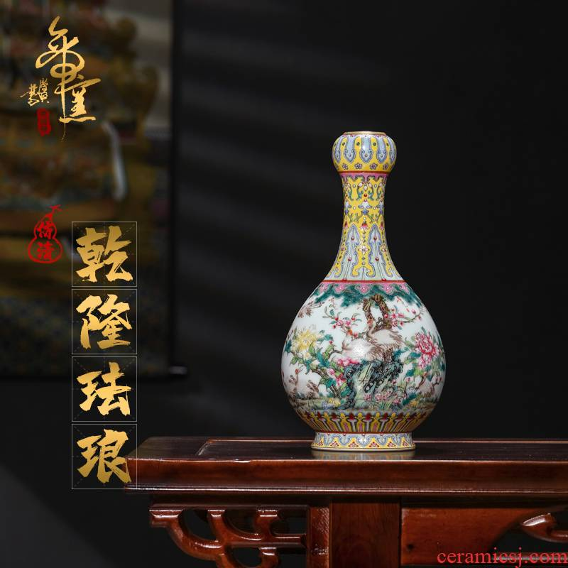 Emperor up with pure manual archaize don 't crane, enamel bottle of jingdezhen ceramics of new home sitting room vase garlic furnishing articles