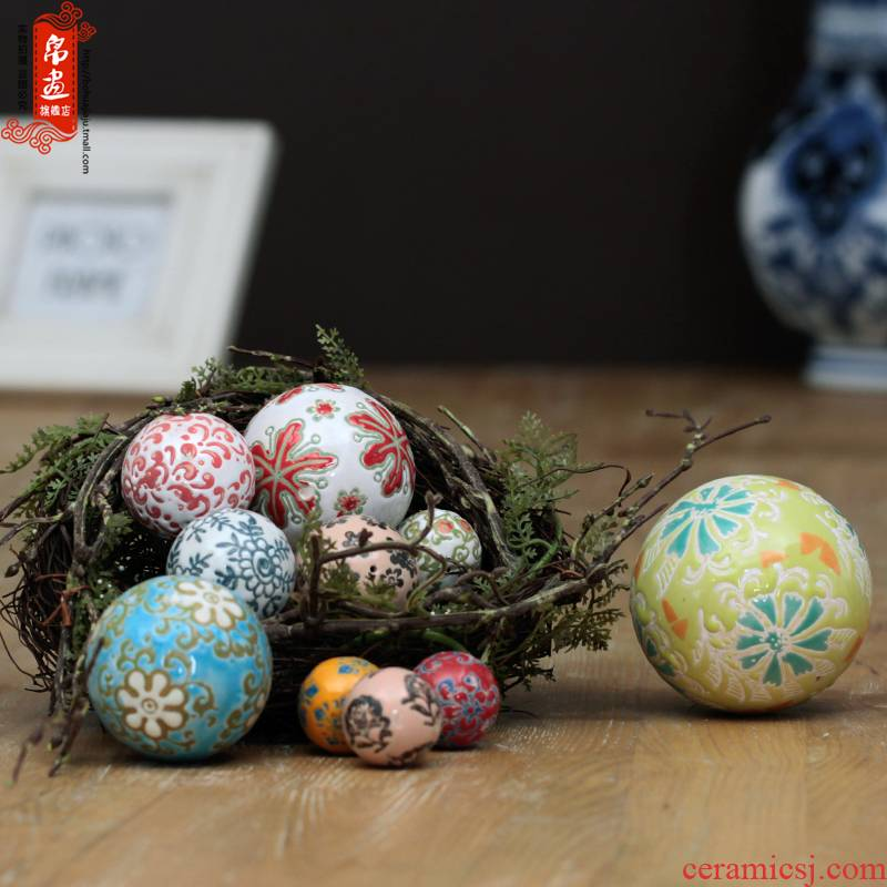 New Chinese style in Europe and the hand - made pastel water floating ball of jingdezhen ceramic decoration household act the role ofing is tasted furnishing articles