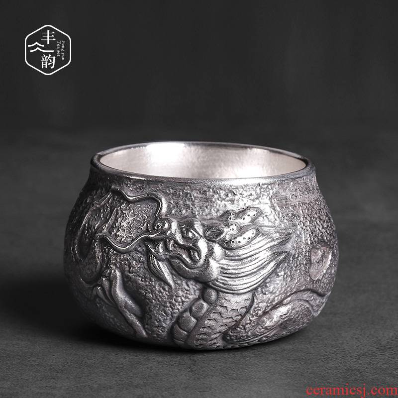 Tasted silver gilding BaoLong masters cup ceramic cups all large restoring ancient ways kung fu tea set pure manual single cup sample tea cup
