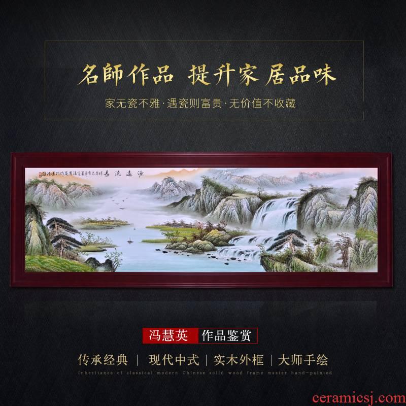 Jingdezhen ceramic porcelain plate painting masters pastel landscape mural adornment style living room porch hang a picture