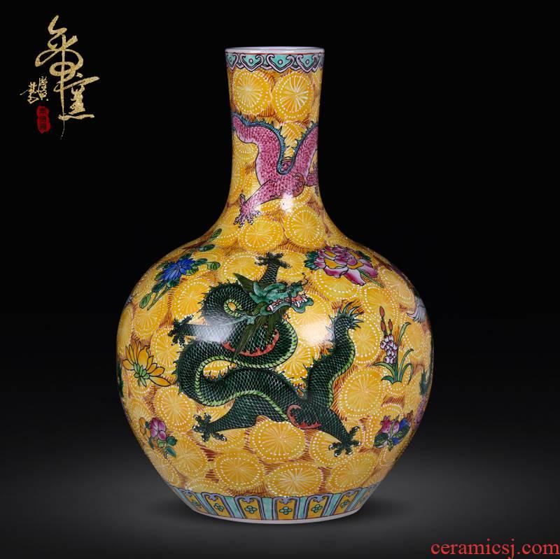 Jingdezhen ceramics vase archaize enamel pastel color dragons and phoenixes vase classical hand - made furnishing articles ornaments