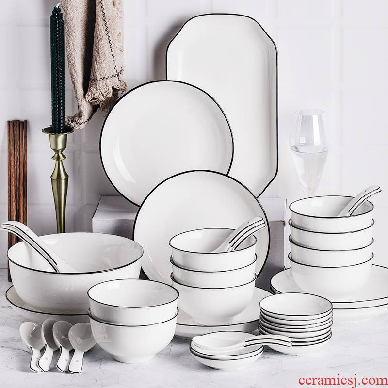 Nordic ceramic bowl chopsticks, spoons, microwave oven plate eat bowl combined Japanese dishes suit