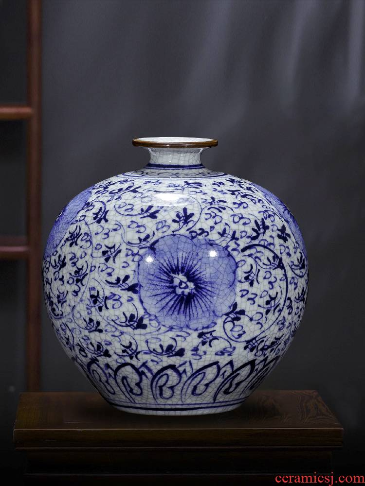 Jingdezhen ceramics pomegranate bottles of hand draw archaize up furnishing articles of Chinese blue and white porcelain vases, flower arrangement sitting room adornment