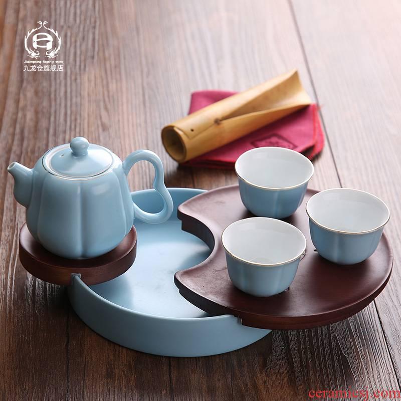 DH jingdezhen ceramic tea set kung fu tea set modern travel portable bag the whole household mini little teapot