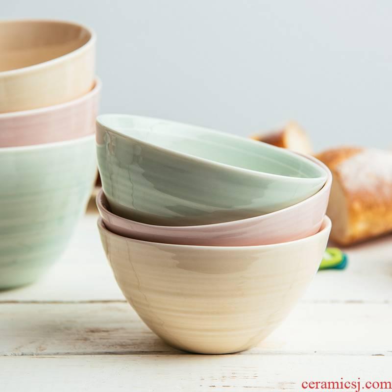 Lototo Nordic ceramic tableware creative job home large soup bowl rainbow such as bowl dish bowl rice bowls andaman