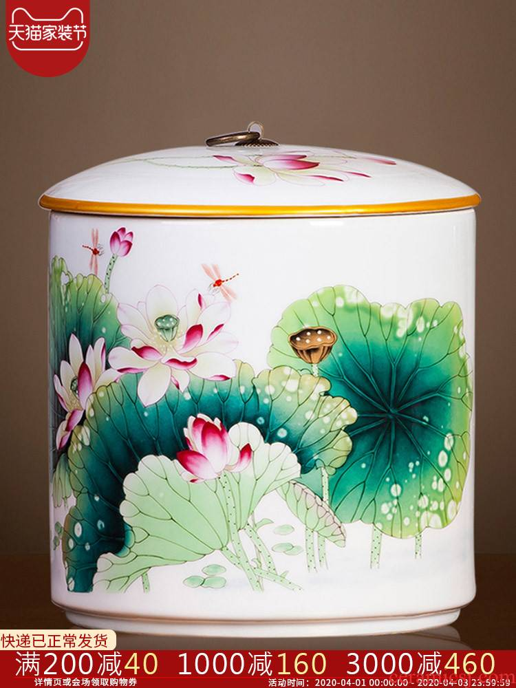 Jingdezhen ceramics new Chinese pu 'er tea box sealed storage tanks with large pot tea tea storehouse