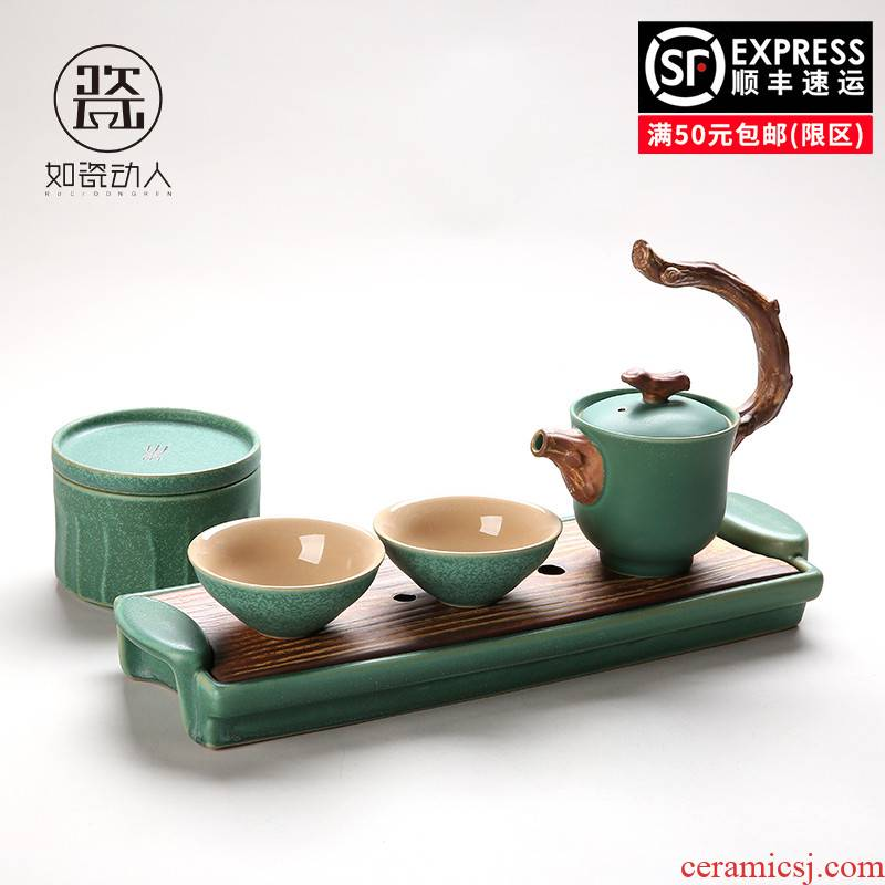 Japanese coarse pottery kung fu tea set home a pot of restoring ancient ways is two cups of creative five lines of portable dry tea set tea service